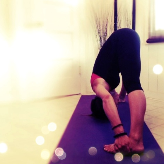 My Wide Legged Forward Bend {Prasarita Padottanasana} is getting better even tough I am pregnant!