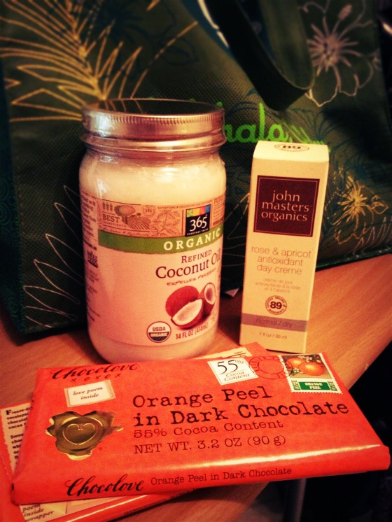 Got my coconut lotion, face lotion & chocolate!