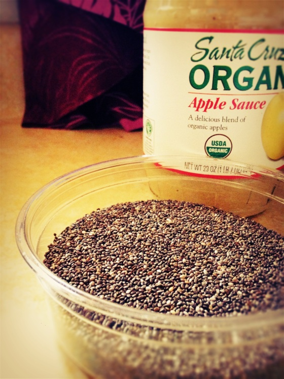 My chia seed breakfast of tomorrow {Organic apple sauce, chia seeds, cinnamon & vanilla - here I come!} Inspired by http://ohsheglows.com/