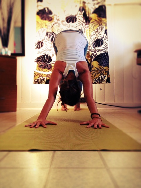 Honoring the sky with the Downward Dog - a quick full-body-feel-good-stretch of the day!